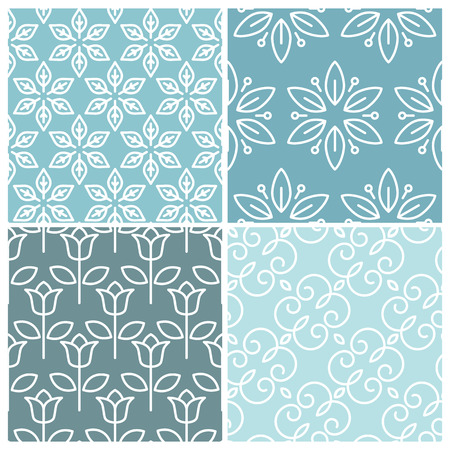 Vector set of floral seamless patterns - collection of abstract backgrounds in trendy mono line style Vector