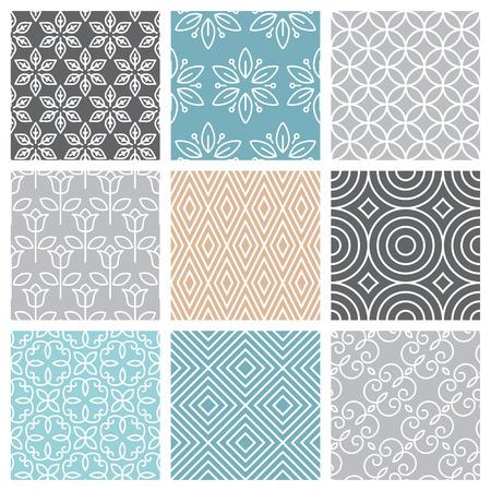 유행 모노 라인 스타일로 설정 벡터 원활한 패턴 - 9 최소한의 기하학적 텍스처