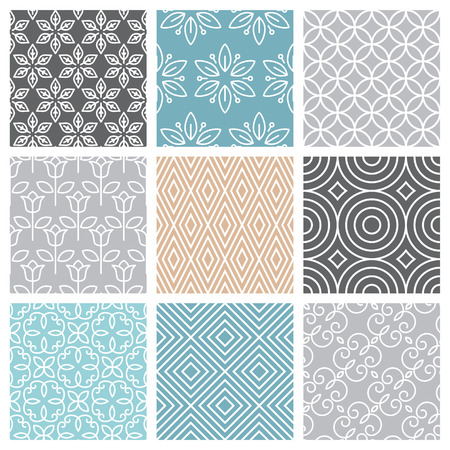 circle flower: Vector seamless patterns set in trendy mono line style - 9 minimal and geometric textures