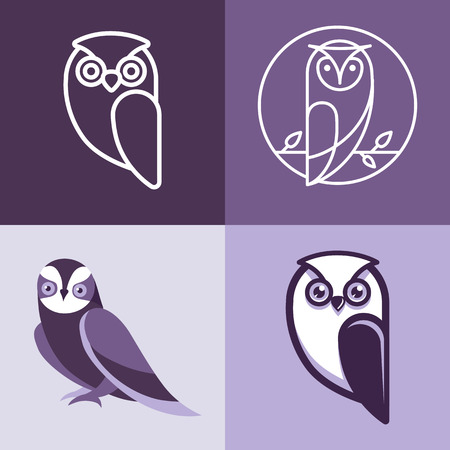 Set of owl logos and emblems - design elements for schools and educational signs 矢量图像