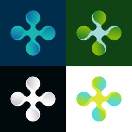 health industry: Vector abstract icons in different colors for medical or health industry