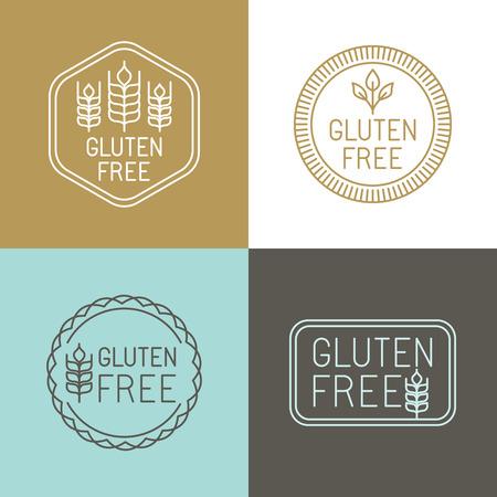 Vecteur gluten insignes et emblèmes gratuits dans le style de ligne
