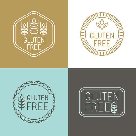gluten: Vector gluten free badges and emblems in line style