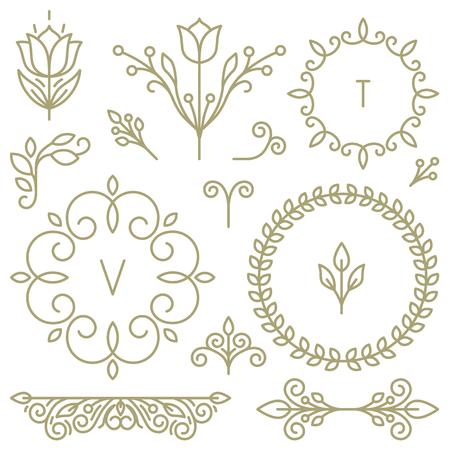 borde de flores: Vector conjunto de elementos de dise�o para la l�nea de iconos, marcos y bordes en estilo moderno