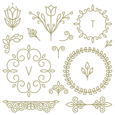 leaf line: Vector set of line design elements for icons, frames and borders in modern style Illustration