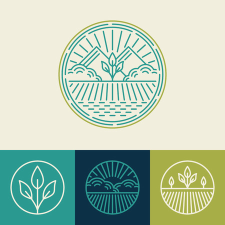 agriculture landscape: Vector agriculture and organic farm line icons - set of design elements and badges for food industry