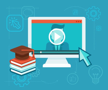 Vector webinar concept in flat style - video player - online education  イラスト・ベクター素材