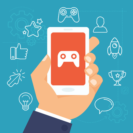 application sign: Vector gamification concept - digital device with touchscreen and game interface on it with award and achievement icons on background