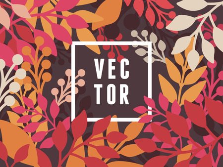 space for copy: Vector abstract background with leaves - banner template with copy space for text