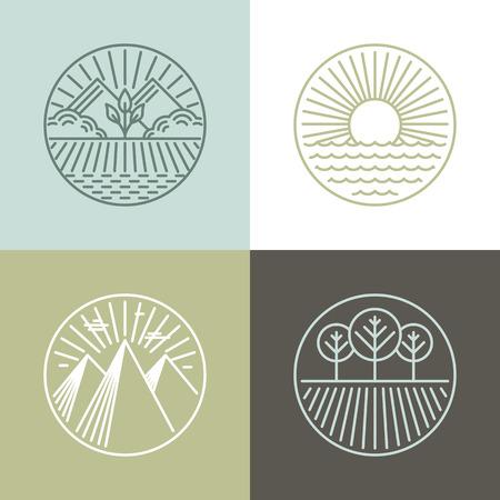 granja: Vector de la l�nea de insignias con paisajes y iconos de la naturaleza - etiquetas redondas