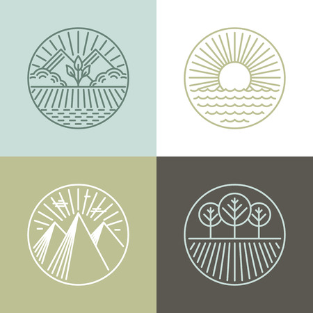leaf line: Vector line badges with landscapes and nature icons - round labels Illustration
