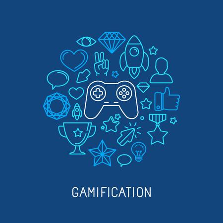 Gamification 概念 - ベクトル線アイコンおよびバッジ