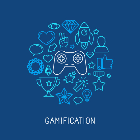 game design: Vector gamification concepts - line icons and badges Illustration