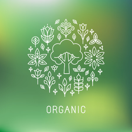 leaf line: Vector organic - outline circle emblem - ecology and bio design elements