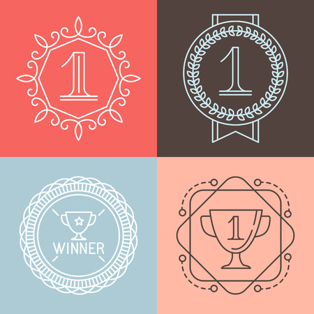 win win: Vector line gamification icons and badges - set of emblems and design elements in outline style Illustration