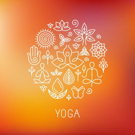 Vector de yoga - iconos e insignias de línea - elementos de diseño gráfico en estilo de contorno para centro de spa o estudio de yoga