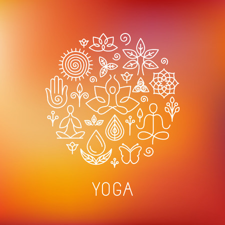 Vector yoga -, pictogrammen en badges - grafisch ontwerp elementen in schets stijl voor spa-centrum of yogastudio