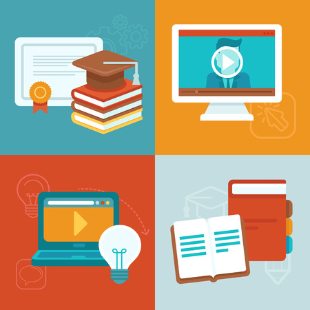 Vector online education concepts and icons in flat style - webinar and internet training 向量圖像