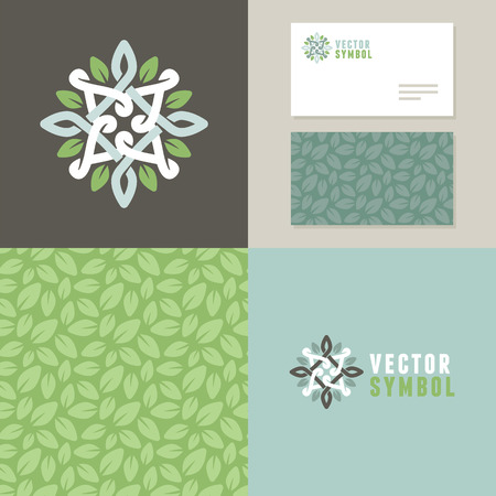 and organic: Vector abstract emblem - outline monogram - flower symbol - set of design elements for organic shop or yoga studio - icon, pattern and card templates