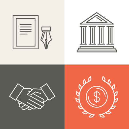 business partner: Vector line bankingg icons - business concepts