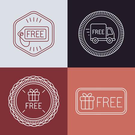 Etiquetas libres del vector y las divisas en el estilo de contorno - signos de entrega libre y regalo Foto de archivo - 35670783