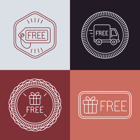 free backgrounds: Vector free labels and badges in outline style - free delivery and gift signs
