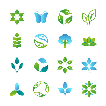 Vector green icons and emblems - nature signs and organic design elements