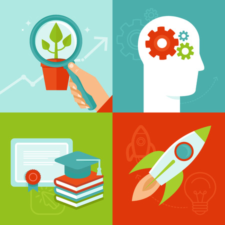 Vector personal development concepts in flat style - education and improvement