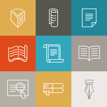 bank book: Vector document and paper signs and icons - line design elements for lawer