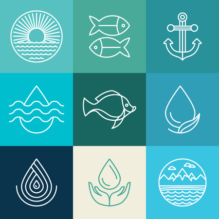 clean: Vector water line icons - fresh and clean design elments in blue colors Illustration