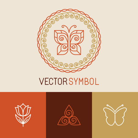 butterfly wings: Vector set of line butterfly icons - design elements for spa, cosmetics and organic shops