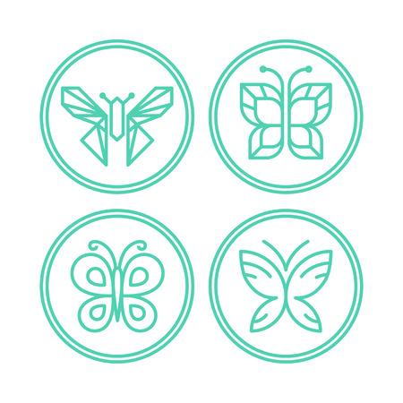 dessin papillon: Vector ensemble de papillon d'ic�nes de lignes - �l�ments de conception pour spa, cosm�tiques et magasins bio