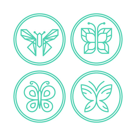 butterfly stroke: Vector set of line butterfly icons - design elements for spa, cosmetics and organic shops