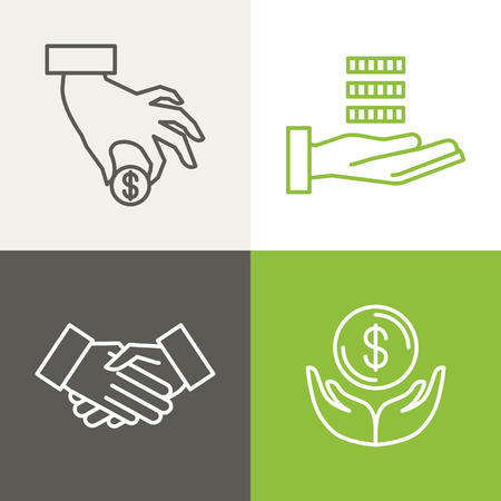 einsparung: Vector Finanz- und Bankwesen Symbole in Umrissen Stil - Zahlung und Nächstenliebe