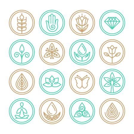 naturaleza: Vector línea orgánica iconos - elementos de diseño de spa, yoga y cosméticos