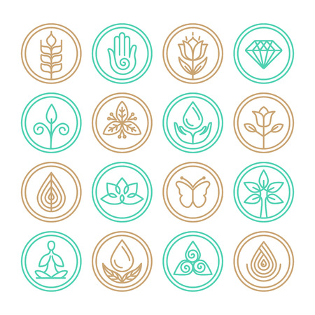 leaf line: Vector organic line icons - design elements for spa, yoga and cosmetics