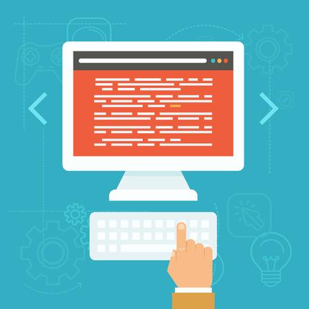 icono computadora: Concepto de pruebas de software del vector en estilo plana - c�digo fuente en la pantalla del ordenador