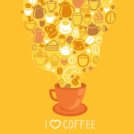 Vector coffee poster - illustration in flat style with hot cup of coffee on yellow background Vector