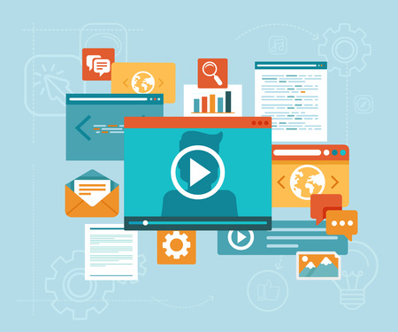 aprendizaje: Contenidos digitales y los iconos webinar en l�nea - concepto de estilo plano Vector de e-learning Vectores