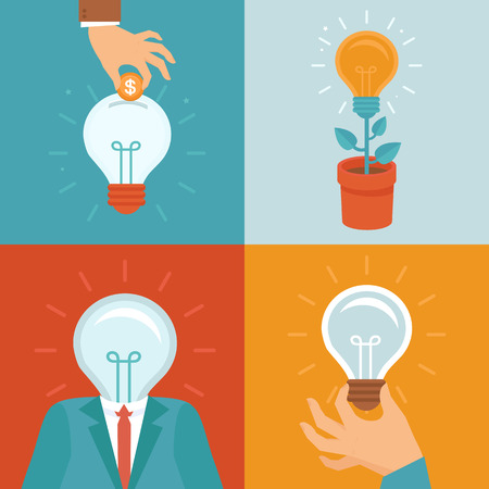think up: Vector idea concepts in flat style - light bulbs icons - innovation and inspiration illustrations