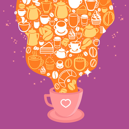 hot cup: Vector coffee poster - illustration in flat style with hot cup of coffee