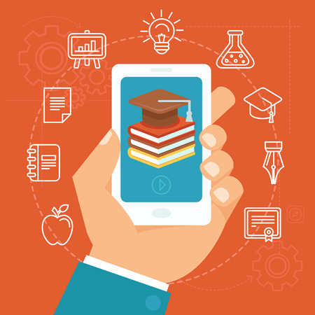 mobile phone: Vector online education concept in flat style - hand holding mobile phone with educational app in the screen - distant e-learning