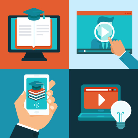 Vector online education concepts in flat style - mobile phone and computers with educational app in the screen - distant e-learning Vector