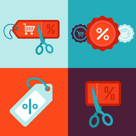 cut price: discount and sale concept in flat style