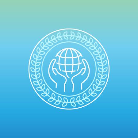 peace stamp: line peace outline circle design  Illustration