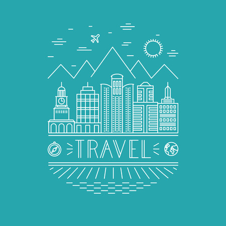 travel poster design template in outline style  Vector