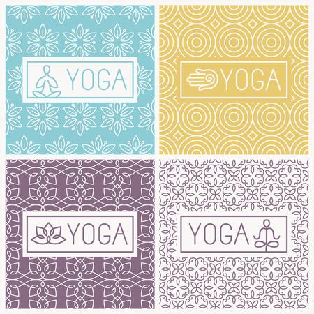 concepto equilibrio: iconos de yoga e insignias l�nea