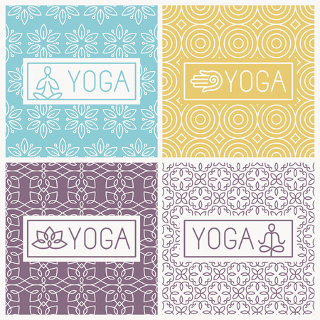 wellness: yoga icons and line badges
