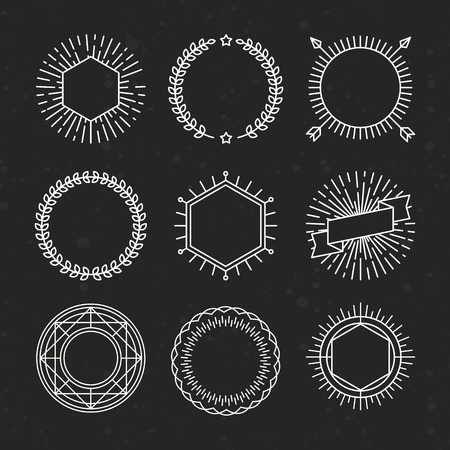 hipster: set of outline emblems and badges Illustration