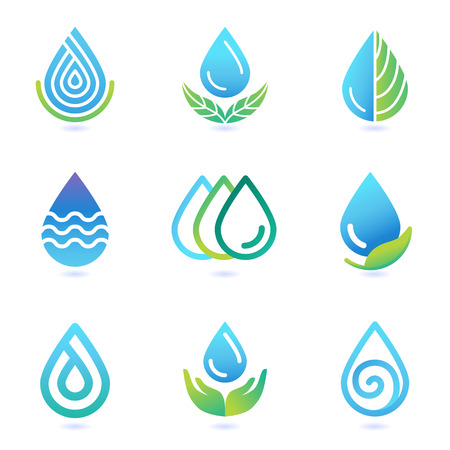 ecology icons: water and oil design elements